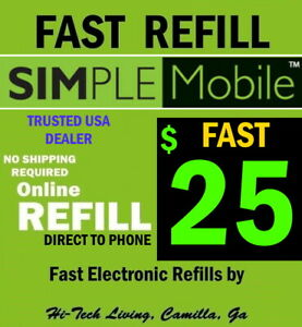 $25 SIMPLE MOBILE REFILL 🔥DIRECT TO PHONE 🔥 GET IT TODAY BY TRUSTED SELLER