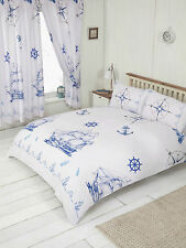 VINTAGE NAUTIC HARBOUR DUVET SET CHOICE OF DOUBLE KING SUPERKING SIZE CURTAINS