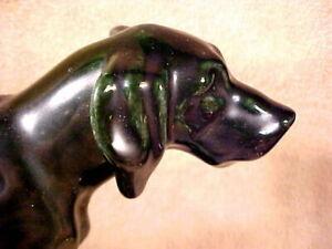 MOSAIC TILE COMPANY, FIGURAL DOG CARD TRAY, BLACK/GREEN OVERTONES, c1930