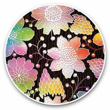 2 x Vinyl Stickers 30cm - Colourful Flower Pattern  #44662