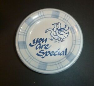 """Louisville Stoneware 4 3/4"""" Trinket Dish or Coaster """" You Are Special """" Geese"""