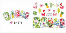 Nail Art Water Decals Transfers Stickers Summer PINK Flamingo Cactus (BN913)