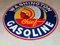 "VINTAGE WASHINGTON INDIAN CHIEF GASOLINE 11 3/4"" PORCELAIN METAL SIGN PUMP PLATE"