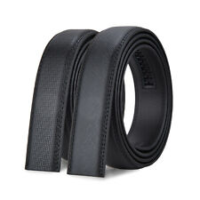 3.1cm Luxury Men's Automatic Buckle Belt Strap Black Leather Ratchet Strap Jeans