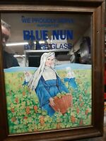 RARE Blue Nun Imported Mirror Sign Wine Bar Tavern Nun Vintage Advertisement