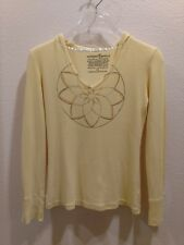 GREEN APPLE Eco-Friendly Size Medium Yellow Thermal Hooded Long Sleeved Top