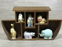 House of Lloyd Noah's Ark and Animals Figurines Display Wooden Rack Vintage