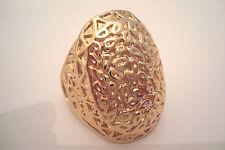 Gold Tone Ornately Engraved Large Oval Statement Ring Size U