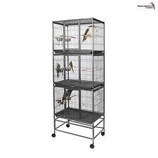 Petit oiseau-Parrot-Finch-canary cage volière fil reproduction w / stand&wheel