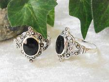 Silber Ring 925 mit schwazem Stein und Markasit - Jugendstil-Design
