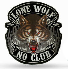 Lone Wolf No Club caferacer Patch embroidered Stick Freebiker Kutte Weste
