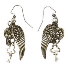 Angel Wing Drop Earrings Silver Nickel free Fish Hook, Lock & Key Dangles
