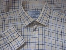 Mens Charles Tyrwhitt Cotton & Wool Blues and Yellow on White Check Shirt (15.5)