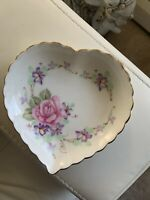 Lefton Bone China Floral Heart Candy Dish / Bowl with Floral Design #06222 1988