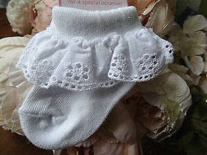 Baby Girl White Frilly Broderie Anglaise Christening Party Socks NB-0-3-6-12mnth