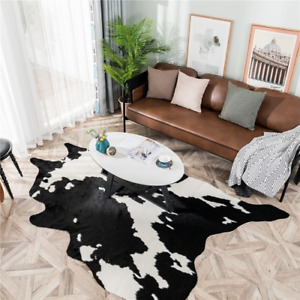 White Black Cow Faux Zebra Skin CowhideCarpet Big Size Brown  Imitation Leather