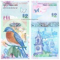 Bermuda 2 Dollars 2009 (2018) Hybrid New Sig. Prefix  'A2'  P-57c  Banknotes UNC