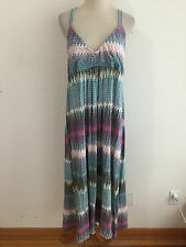 Apostrophe Intimates Sleeveless Gown Maxi Dress Cover-Up Ivory Blue Rust & M