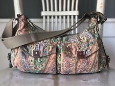FOSSIL Canvas Boho Hobo Floral Multicolor Medium XBody Shoulder Handbag Purse