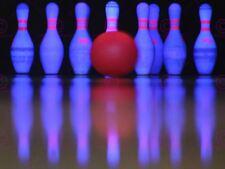 Sport Photograph Ten Pin Bowling Neon Skittles Ball Canvas Art Print