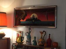 Vintage Tableau panneau laque signé PINERO Surréalisme Pop Art des années 80