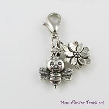 Tibetan Silver Bumblebee & Flower Charm fit Clip on Charm Bracelet