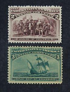 CKStamps: US Stamps Collection Scott#231 Mint H OG #232 NH OG Spot