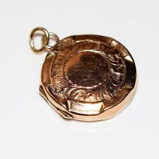Edwardian 1906 Engraved 9ct Rose Gold Locket Pendant