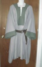 """Sca Medieval Garb chest 64"""" ard t- tunic style dress Renaissance Gray w/Green"""