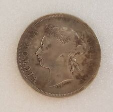 Vintage Coin, Rare 50 cents Queen Victoria Coin 1899 Straits Settlements Antique