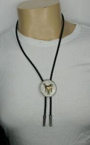Leather Bolo Tie Horse Saddle Medallion 32 Inch