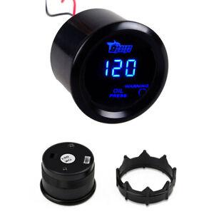 """Car 2"""" 52mm Digital Blue LED Oil Pressure Gauge 120 PSI with Sensor Black Shell"""