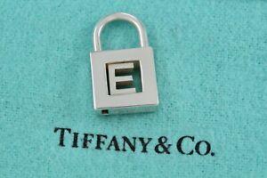 "Tiffany & Co Sterling Silver Alphabet Letter ""E"" Padlock Charm Pendant W/Pouch"