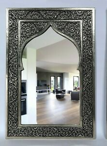 Mirror Handmade glass Carved copper traditional wall moroccan