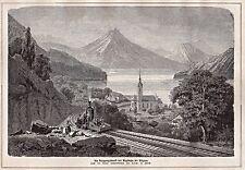 Vitznau Luzern, Schweiz - Vitznau-Rigi-Bahn - 2 Stiche, Holzstiche um 1875