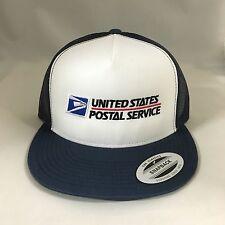 USPS Snapback Cap United States Postal Service Mesh Trucker Hat White/Navy
