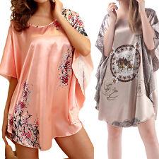 Pyjama Femme Vêtement Chemise de Nuit ample en Soie Rose à motifs Lingerie Sexy