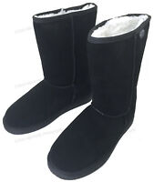 """Women's Winter Boots Fashion Suede 10"""" Mid Calf Shearling Warm Fur Shoes, Sizes"""