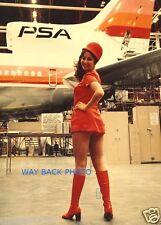 PSA AIRLINES STEWARDESS IN PSA HANGAR - Lockheed L-1011 5 x 7 Reprint Photo