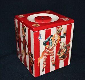 Carnival Theme Wooden Box Ornament Rare Vintage 1996