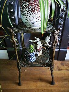 Antique 2 tier brass plant cake pan stand cherubs angels