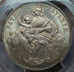 "1 Vereinsthaler 1871 Ludwig II ""Madonnentaler"" MS64 / PCGS Ultra Rare Grade !!!!"