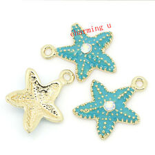 2pz charms ciondoli stella marina  smaltato con strass 22x19mm  colore oro,blu