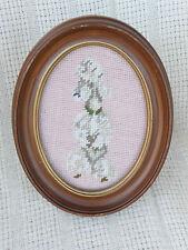 Charming Vintage Original Needlework Poodle Seated Upright - Oval Frame