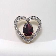 14k Two Tone Gold Garnet Pave' Diamond Open Heart Slide Charm Pendant NEW