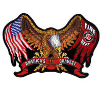 FIRE DEPARTMENT AMERICAN EAGLE PATCH P3500 biker BRAVE iron on jacket or shirt
