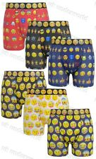 3 Pairs Mens Cotton Boxer Shorts Emoji Emotions Smiley Faces Character Underwear