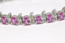 Pink Sapphire & Diamond Tennis Bracelet Rhodium 925 Sterling Silver