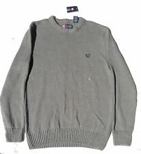 Mens Chaps Ralph Lauren Gray Cotton Knit Crewneck Sweater Medium Classic New