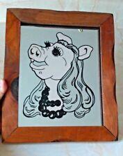Vintage MISS PIGGY Wood Framed Mirror Muppets home decor
